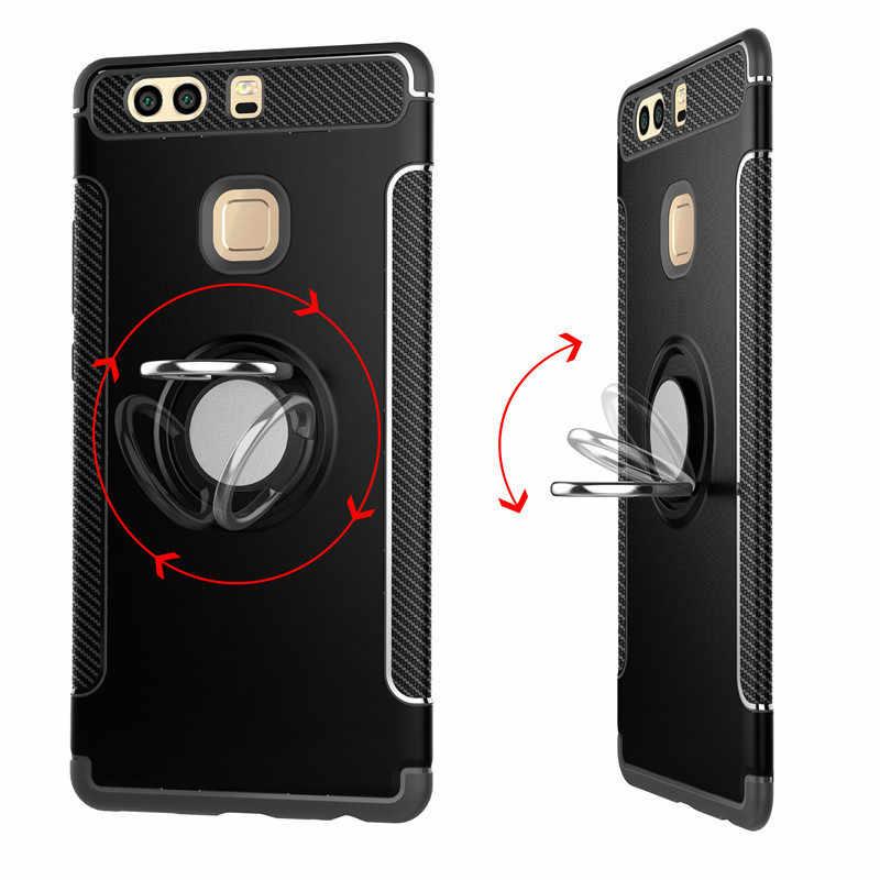 สำหรับ Huawei P9 Plus P9 + TPU + PC เกราะกันกระแทกกับผู้ถือแหวนนิ้วมือโทรศัพท์กลับสำหรับ huawei P9 coque