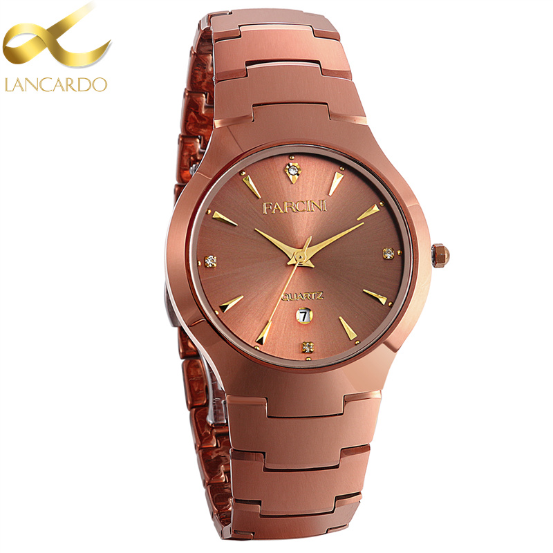 Lancardo Brand Business Relogio Masculino Japan Movement Coffee Color Tungsten Steel Men Watch Dress Men Quartz Wrist Watches