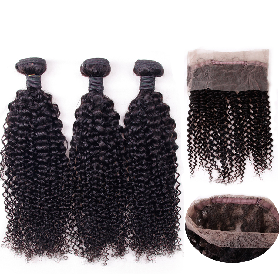 Clover Leaf Kinky Curly Hair Weave 3 Bundles With 360 Lace Frontal Natural Color Human Hair Extensions For Salon