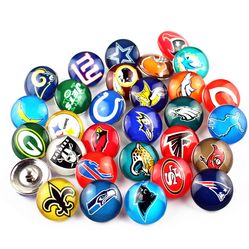 Mixs 32pcs/lot Sports Football Team Snap Buttons Glass Snap Charms Fit 18mm DIY Ginger Snap Bracelet Replaceable Button Jewelry