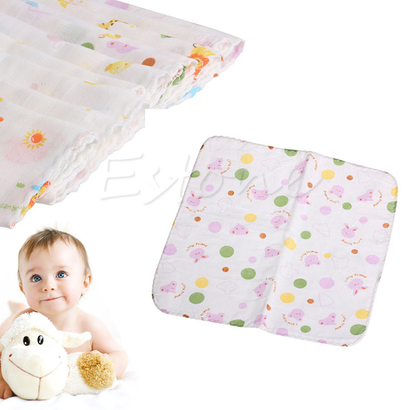 10Pcs NewBorn Gauze Muslin Square 100% Cotton Bath Wash Baby Towel Handkerchief ...