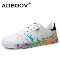girls brand white shoes mix colors ink painting style woman shoes colorful white ladies shoes plus large size US 9 Euro 41 cheap