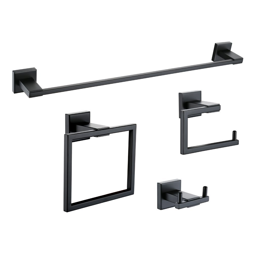 Matt Black Wall Mount Stainless Steel 4 Piece Bathroom Accessory Set Towel Bar Toilet