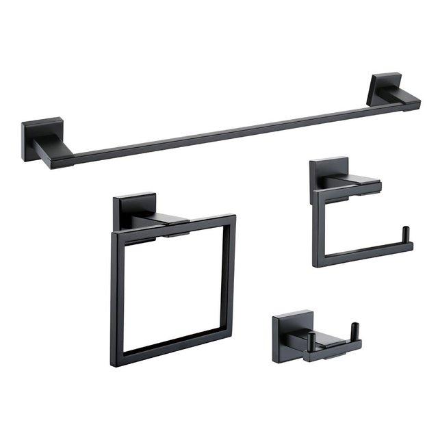 Beau Matt Black Wall Mount Stainless Steel 4 Piece Bathroom Accessory Set Towel  Bar Toilet Paper