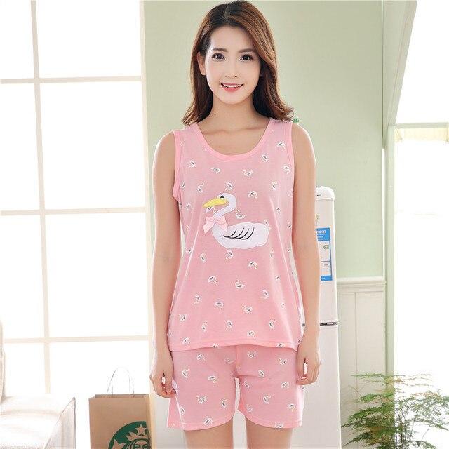 Summer Cotton Women s Pink Pajama Sets Cute Cartoon Sleepwear Sweet Girl  Mujer Pijama Feminino Pajamas Pyjamas Women Fashion e8827005e