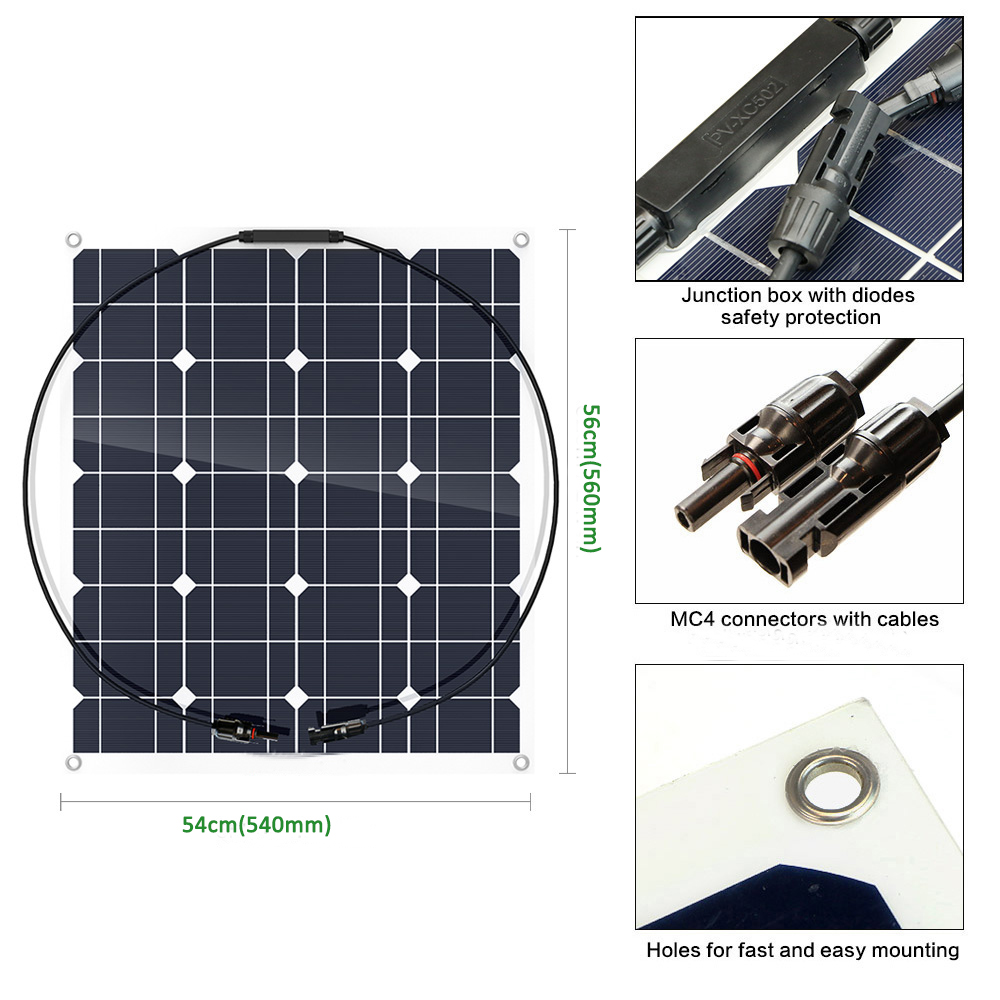 High efficiency PET semi flexible solar panel 50w 12V panel solar battery charger for Camping Caravan