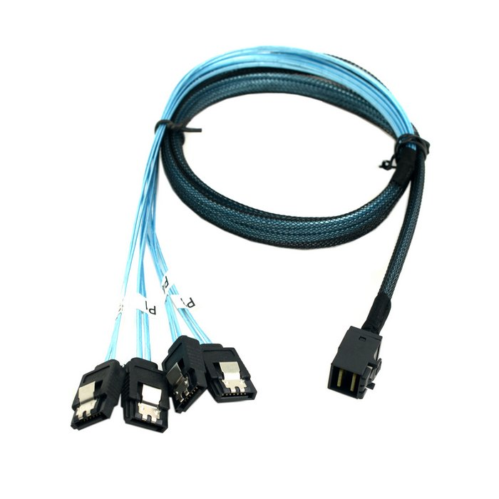 Internal Mini SAS SFF-8643 Host to 4 SATA 7pin Hard Disk Fanout 6Gbps Data Server Raid Cable 1m 100cm 3ft 146gb sas hdd for hp server hard disk 504062 b21 504334 001
