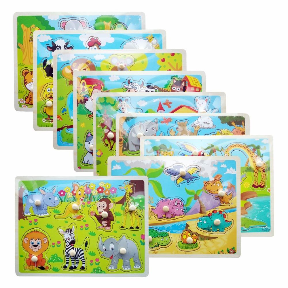 Animal Jigsaw Board Kid Early educational toys baby boys ...