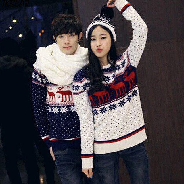 Couples Christmas Sweaters.Us 59 98 Hot Sale Polka Dots Matching Christmas Sweaters For Couples Reindeer Snowflake Patterned Plus Size Pullovers S Xxl In Pullovers From Men S