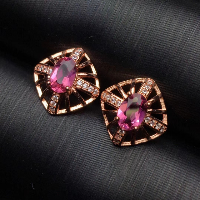 star oval pink for item tourmaline beautiful gem party gold stud natural solid earrings rose