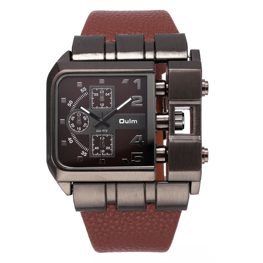 reloj hombre deportivo OULM Brand Original Unique Design Square Men Wristwatch Wide Big Dial Casual Leather Strap Quartz Watch