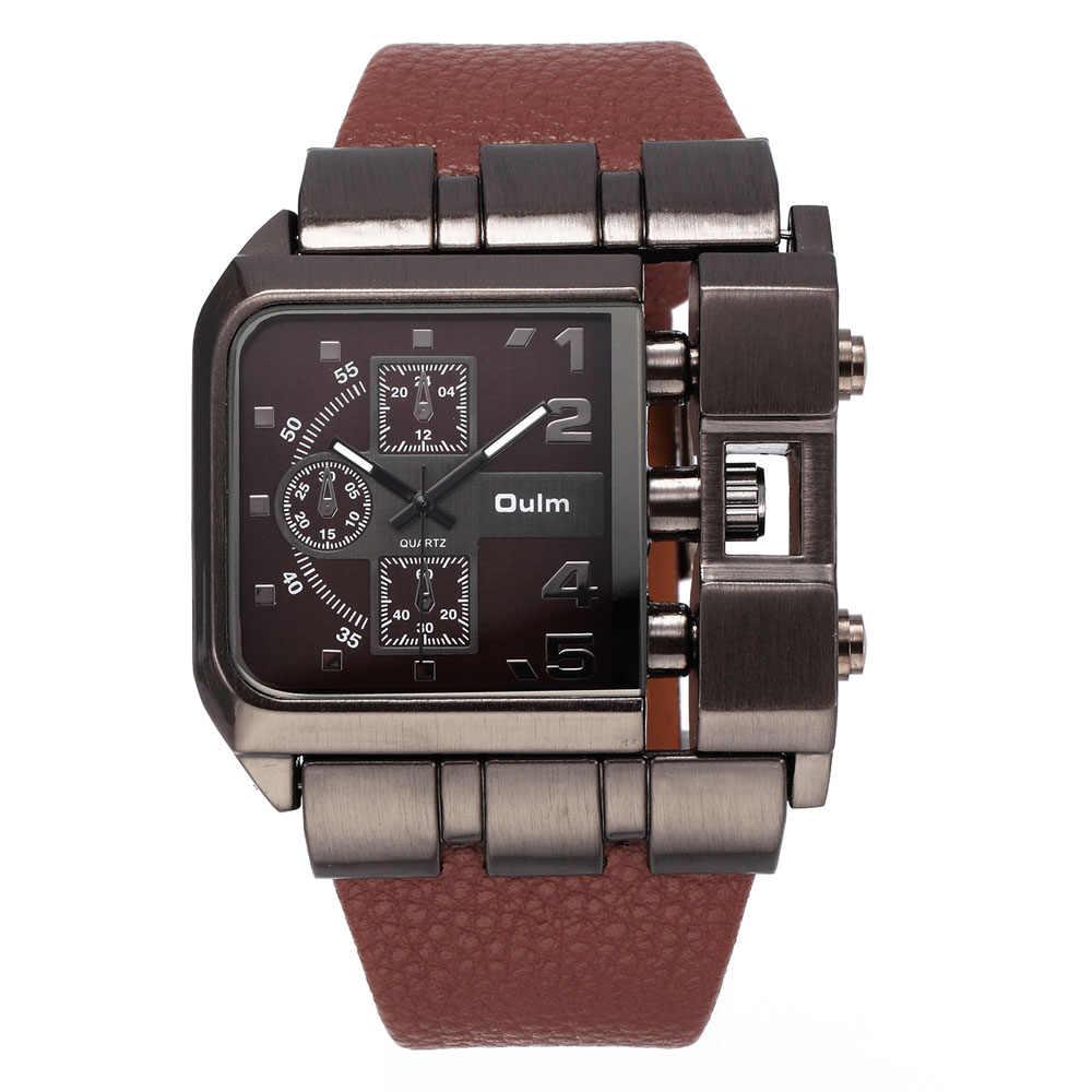 dfcfb146c639 reloj hombre deportivo OULM Brand Original Unique Design Square Men  Wristwatch Wide Big Dial Casual Leather