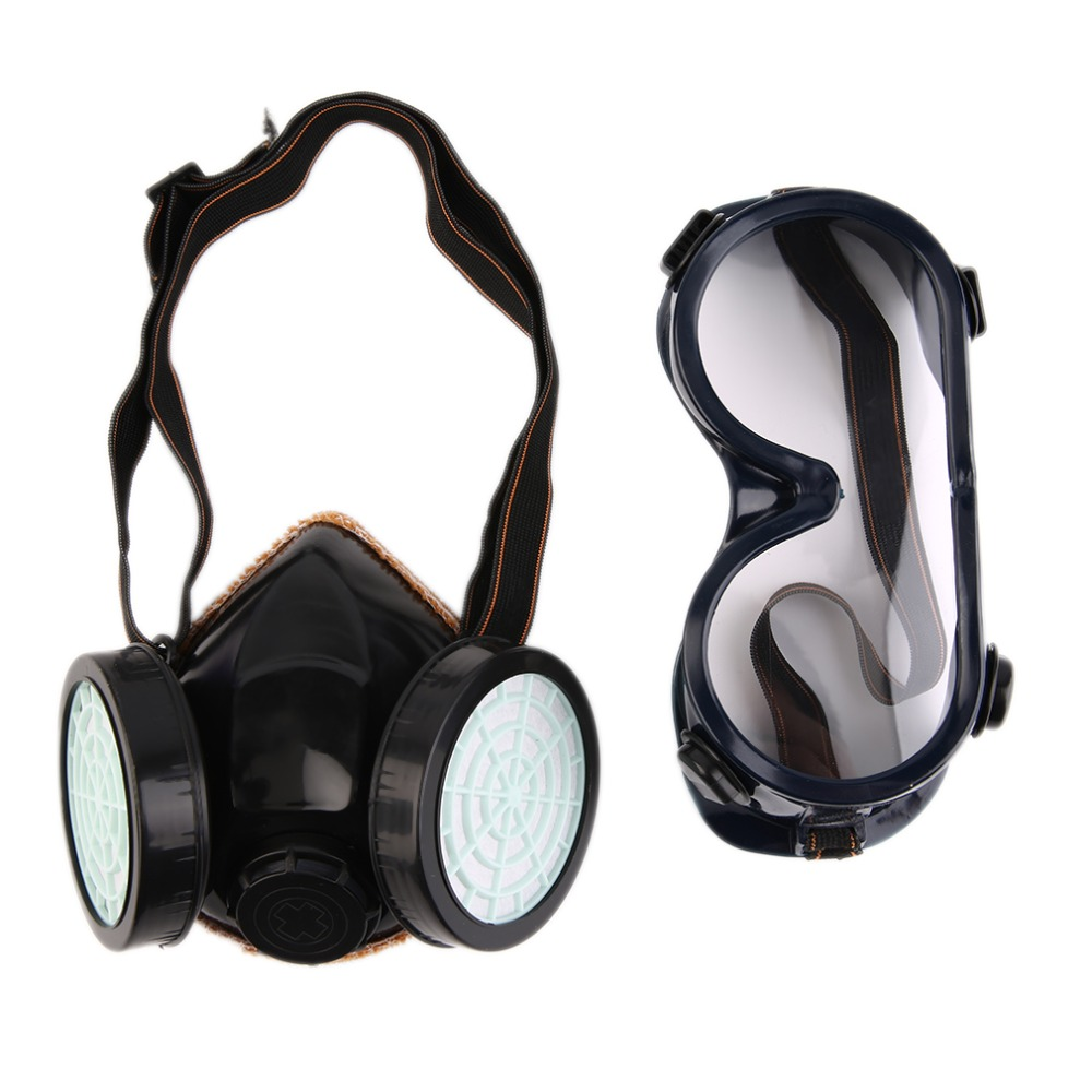 Precise Black Gas Mask Emergency Survival Safety Respiratory Gas Mask Anti Dust Paint Respirator Mask With 2 Dual Protection Filter Health Care Personal Health Care
