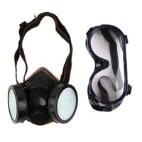 New Protection Filter Dual Gas Mask Chemical Gas Anti Dust Paint Respirator Face Mask With Goggles