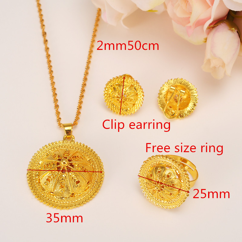 Ethiopian Gold Jewelry set Pendant Necklaces Earring Ring crystal ...