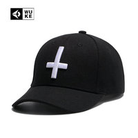 WUKE Summer Baseball Cap For Men Women Cross Embroidery Snapback Hat Fitted Curved Peaked Cap