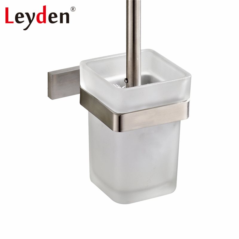Leyden Square Toilet Brush Holder Brushed Nickel Stainless Steel