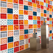 цены 6PCS/set Mosaic Art Wall Decals Oil-proof Waterproof Mouldproof Creative Tile Sticker for Kitchen Bathroom Floor and Wall Decor