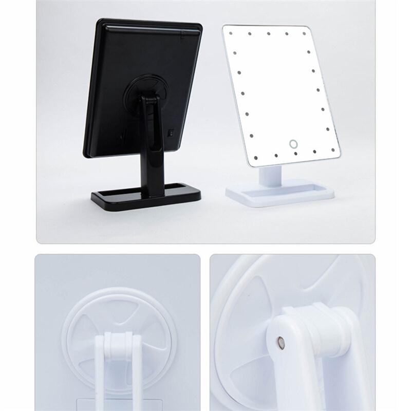 Rectangular 20 LED Lighted Vanity Mirror Touch Screen Battery Powered Makeup Mirrors