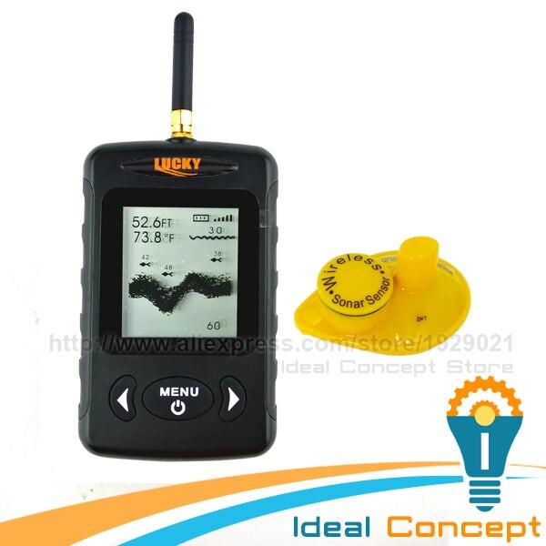 LUCKY Fish finder FFW-718 BLACK Digital Wireless Sonar Sensor FSTN LCD Dot Matrix 45M  Fish Detector Monitor