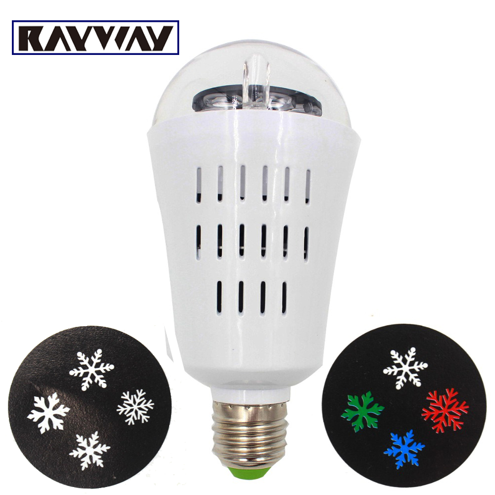 RAYWAY E27 LED Lamp Christmas Holiday light RGBW Rotating bar Stage light Laser Projector Indoor Party LED Snow Bulb Lighting mipow btl300 creative led light bluetooth aromatherapy flameless candle voice control lamp holiday party decoration gift