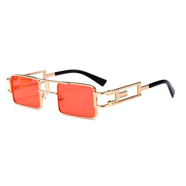 Peekaboo mens rectangular sunglasses steampunk men metal frame gold black red flat top square sun glasses for women 2018 4