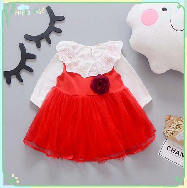 Retail-2017 autumn new born baby dress/suave y hermosa encaje floral infantil princesa dress de los bebés dress baby pink ropa