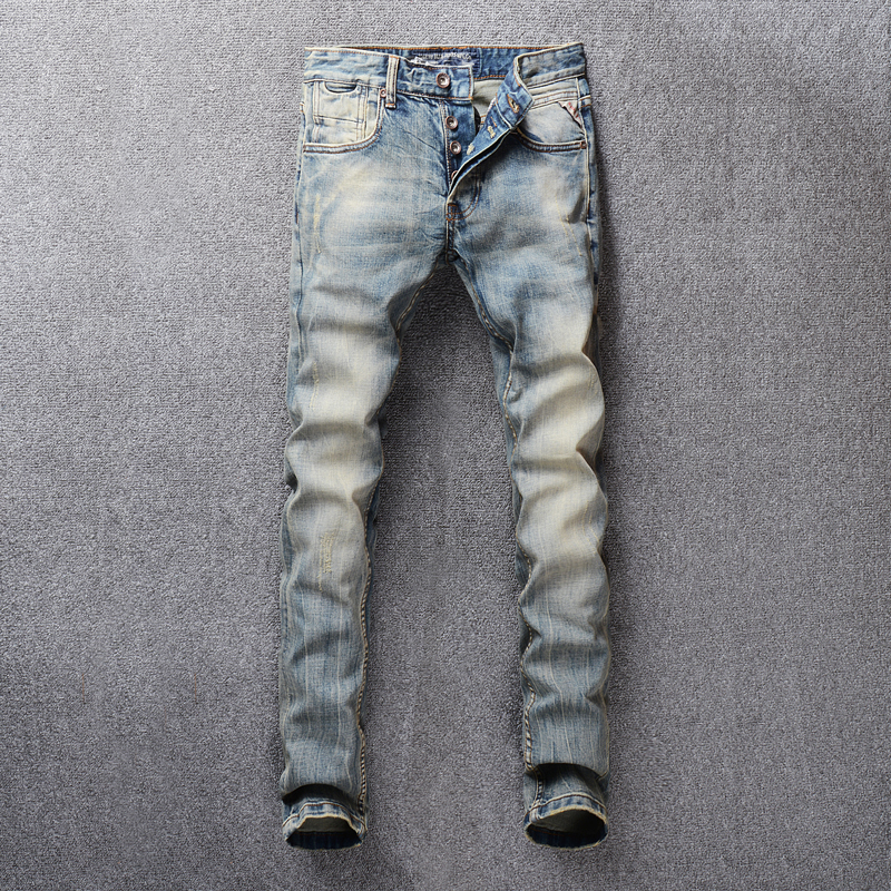 Vintage Design Men's   Jeans   High Quality Retro Washed Classical   Jeans   Men Buttons Pants Little Elastic Slim Fit Brand   Jeans   homme