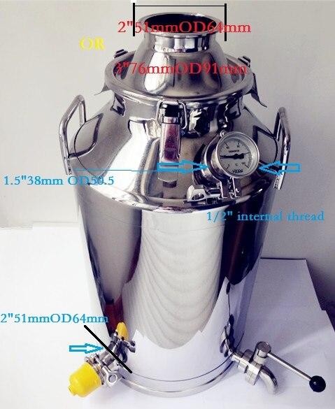 Trasporto Libero 35L Serbatoio Serbatoio Per Distillazione Boiler Distillery, Brew Serbatoio, Distillery Serbatoio In Acciaio Inox 304