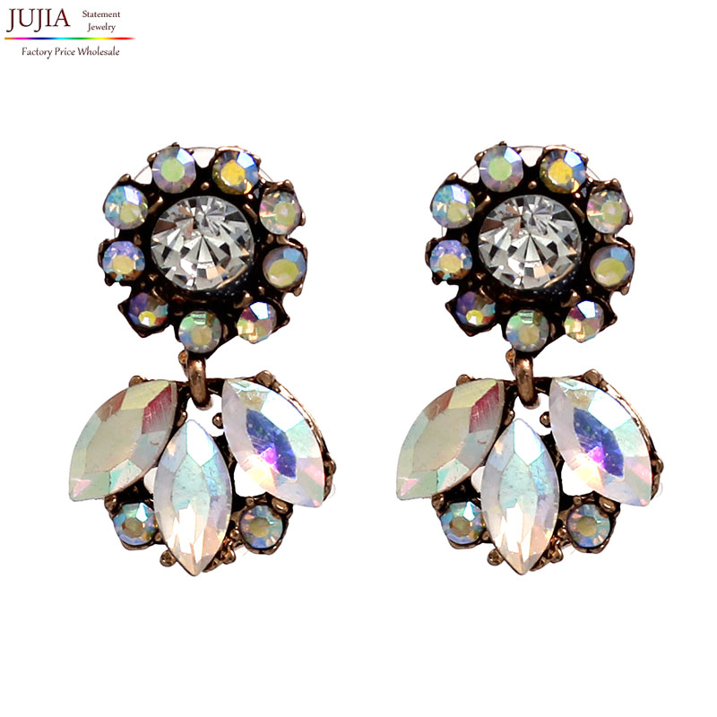 Hot sale earring Statement Trendy Jewelry Shiny Resin Stone Stud Earrings for women Wholesale earring