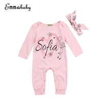 Cute Newborn Baby Girls Romper Sweet Pink Long Sleeve Jumpsuit Headband 2017 New Casual Clothes Outfits Set