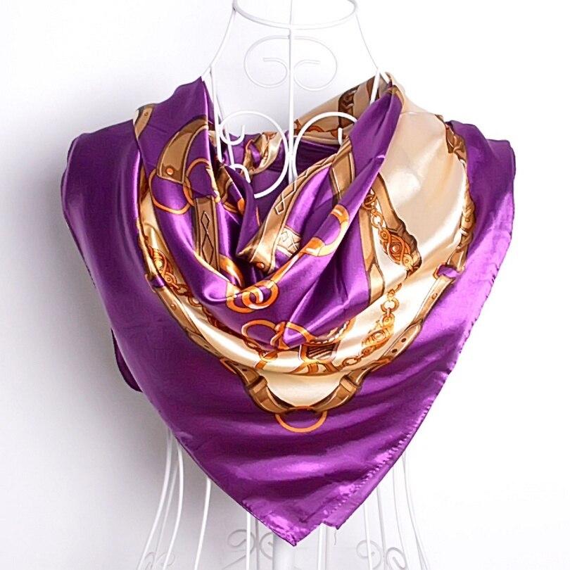 Дизайн женский Шелковый большой квадратный шелковый шарф из полиэстера, 90*90 см горячая Распродажа атласный шарф с принтом для весны, лета, осени, зимы - Цвет: purple chain