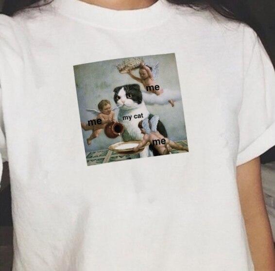 Me Me Me My Cat Graphic Tee Summer Cute Women Tshirt Short Sleeve Fashion Top Tee Cat Meme On ME.ME Tumblr Grunge Shirt
