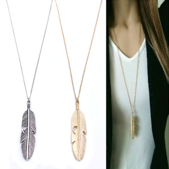 Simple Classic pendant Necklace Feather Necklace Long Sweater Chain Statement Jewelry choker Necklace for Women leaf Chocker 1