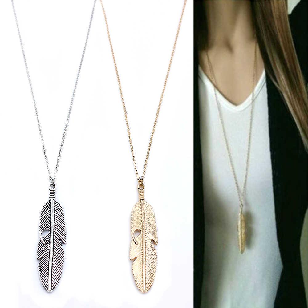 Prosty klasyczny wisiorek naszyjnik z piór długi naszyjnik łańcuch sweter komunikat biżuteria choker naszyjnik dla kobiet liść Chocker