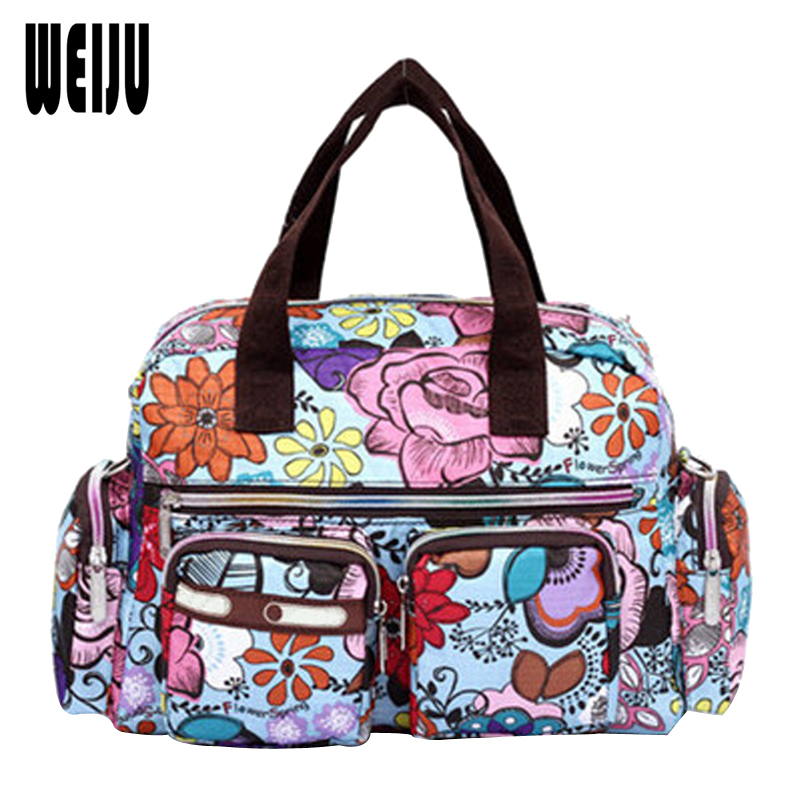 WEIJU Women Handbag 2015 New Fashion Printing Waterproof Nylon Shoulder Messenger Bags Casual Women Bag Size 31*22*11.5cm YA0337 2016 autumn and winter new casual waterproof nylon shell bag soft bag portable women shouid bags dd5023