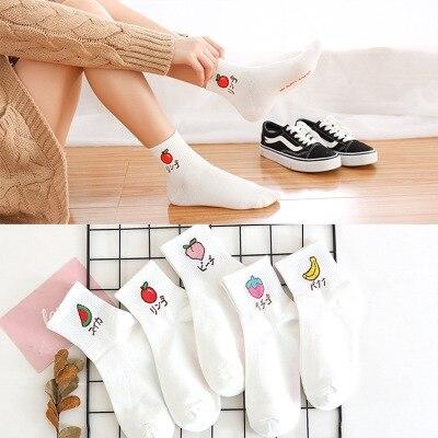 1 Pair Fruits Ankle Socks Apple Embroidery Motifs Print White  In Korean Style For Girls Dress Socks Japanese Harajuku Socks