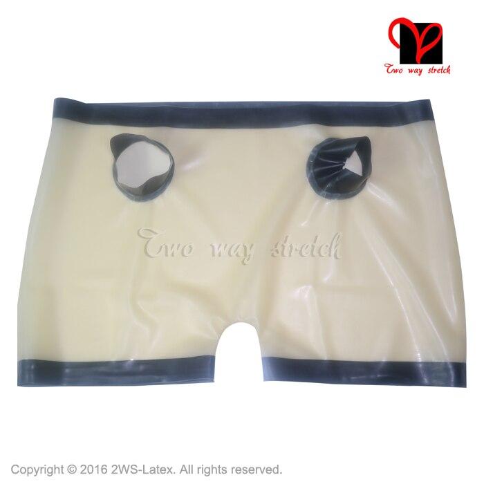 Sous-vêtements Sexy en caoutchouc transparent Latex deux trous culotte avant avec garnitures pantalons slips tongs tanga caleçons KZ-064