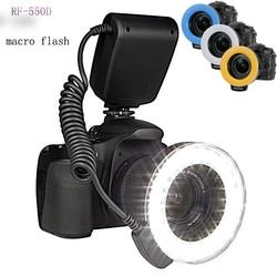 Eachshot 48pcs Macro LED Ring Flash with 8 Adapter Ring Flashlight for Canon Nikon Pentax DSLR Camera RF-550D Speedlight