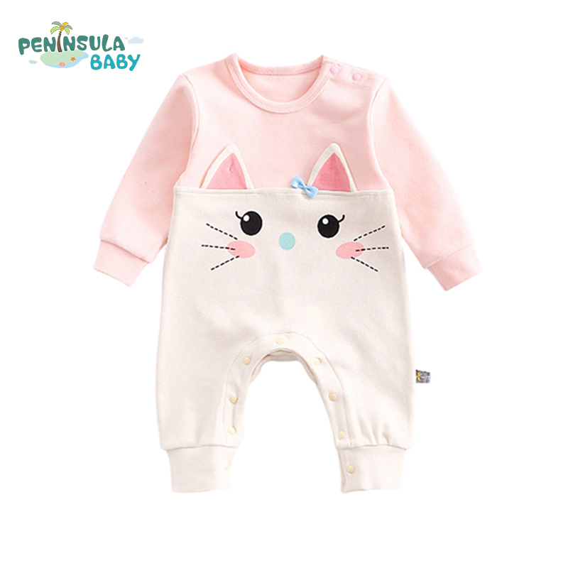Newborn Spring Autumn Baby Girls Boys Clothes Cat Bear Animal Ear Cartoon Baby Rompers Long Sleeve Cute Lovely Infant Jumpsuit 2017 spring newborn rompers baby boys girls clothes long sleeve cute cartoon face cotton infant jumpsuit queen ropa bebes 0 24m