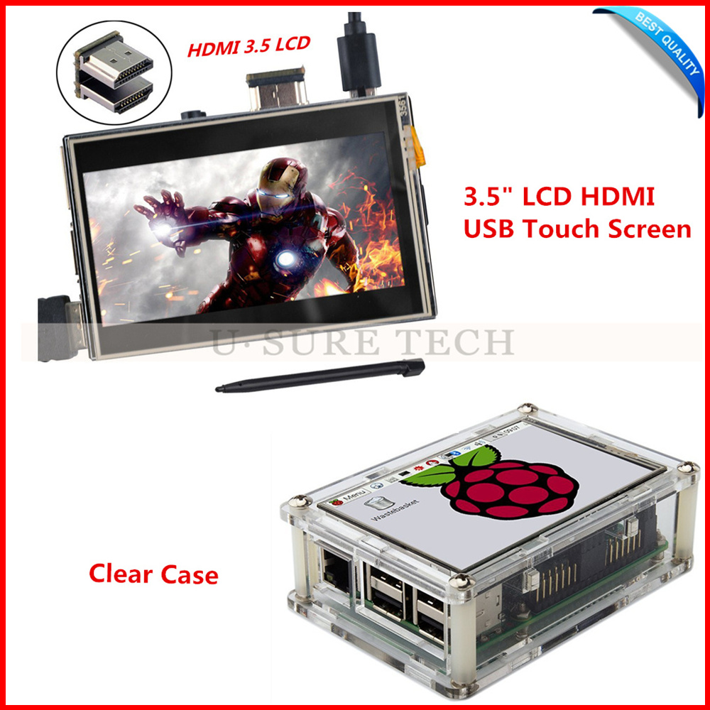 3.5 inch Raspberry Pi LCD HDMI USB TFT Touch Screen 480*320-1920*1080 LCD Display Audio with Clear Case for Raspberry Pi 2/3