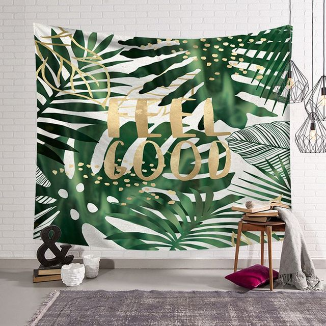 Green Tropical Plant Tapestry Quotes And Leaf Leaves Beach Mat Modern Hanging Wall Cloth Tapestries Dorm