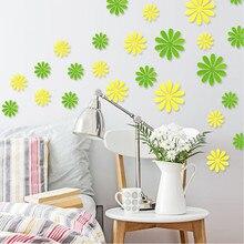 Новые красочные DIY 3D цветок красный зеленый синий желтый белый флора главная переводные картинки декоративные наклейки ТЕЛЕВИЗОР фоне партийные наклейки