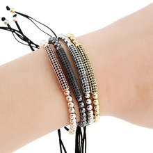 Wedding Jewelry Women Metal Beaded Bracelet Strand Paved CZ Crystals Gun Black Plated Bracelets & Bangles Friendship Gifts