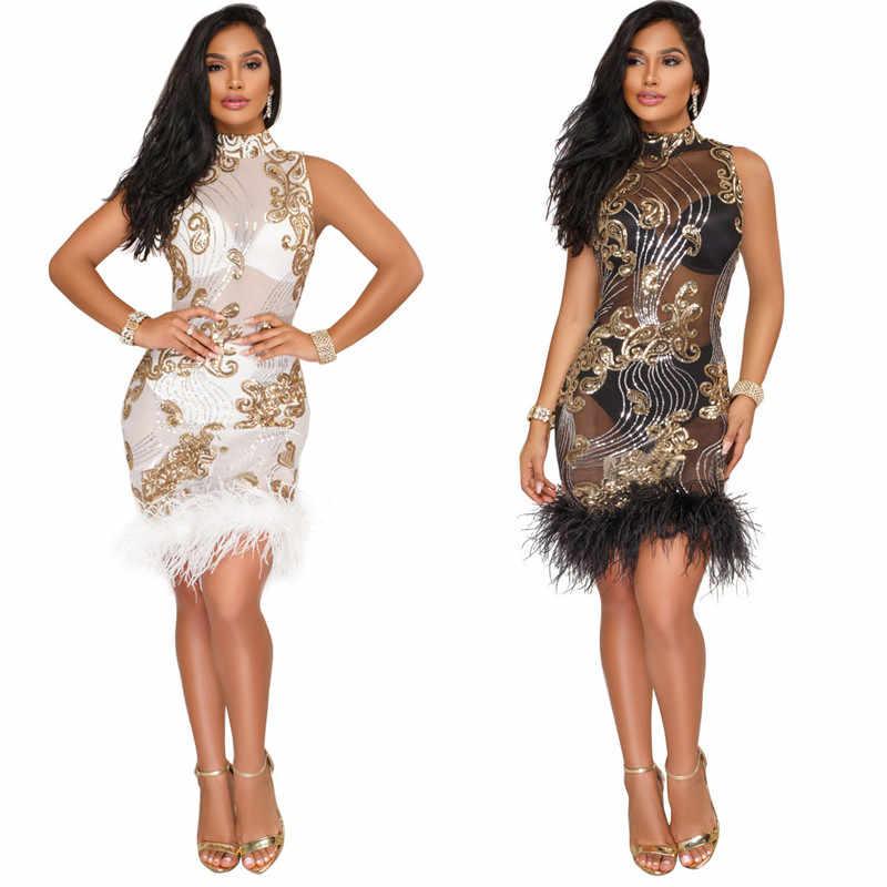 Sexy Sheer Mesh Sequin Dress Women Sleeveless Feather Patchwork Glitter  Dress Sparkly Bodycon Party Dresses Winter 79fd229ba829