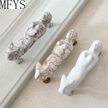3.75 Mermaid Vintage Drawer Handles Pulls Crack Ceramic Door Kitchen Cabinet 96mm
