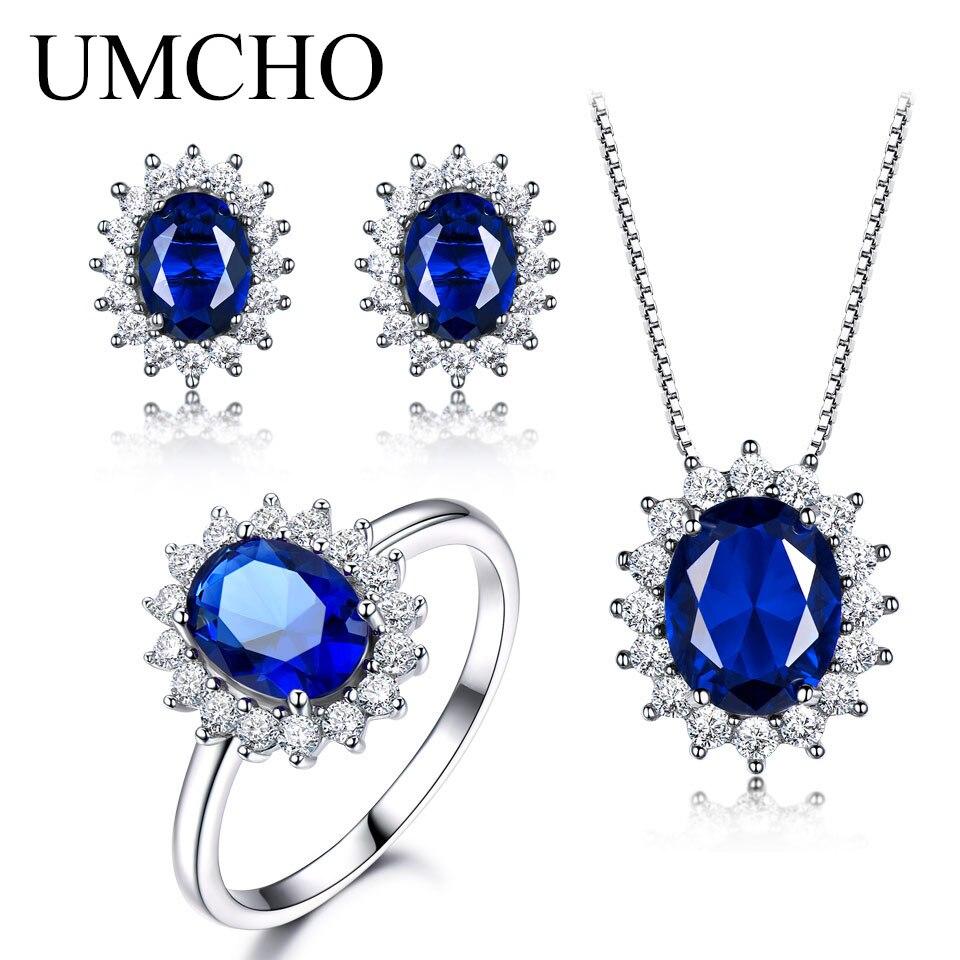 Umcho 925 стерлингов Серебряные ювелирные изделия Комплект Nano синий сапфир кольцо кулон серьги стержня для Для женщин бренд ювелирных украшени...