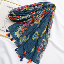Thin Section Scarf Literary Retro Ethnic Cashew Fruit Printing Tassel Clothing Accessories Cotton Linen