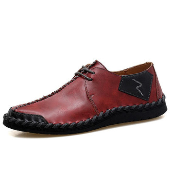 VANCAT Brand New Men Shoes Big Size 38-47 Mens Shoes Casual High Quality Split Leather Shoes Lace Up Man Flats Shoes