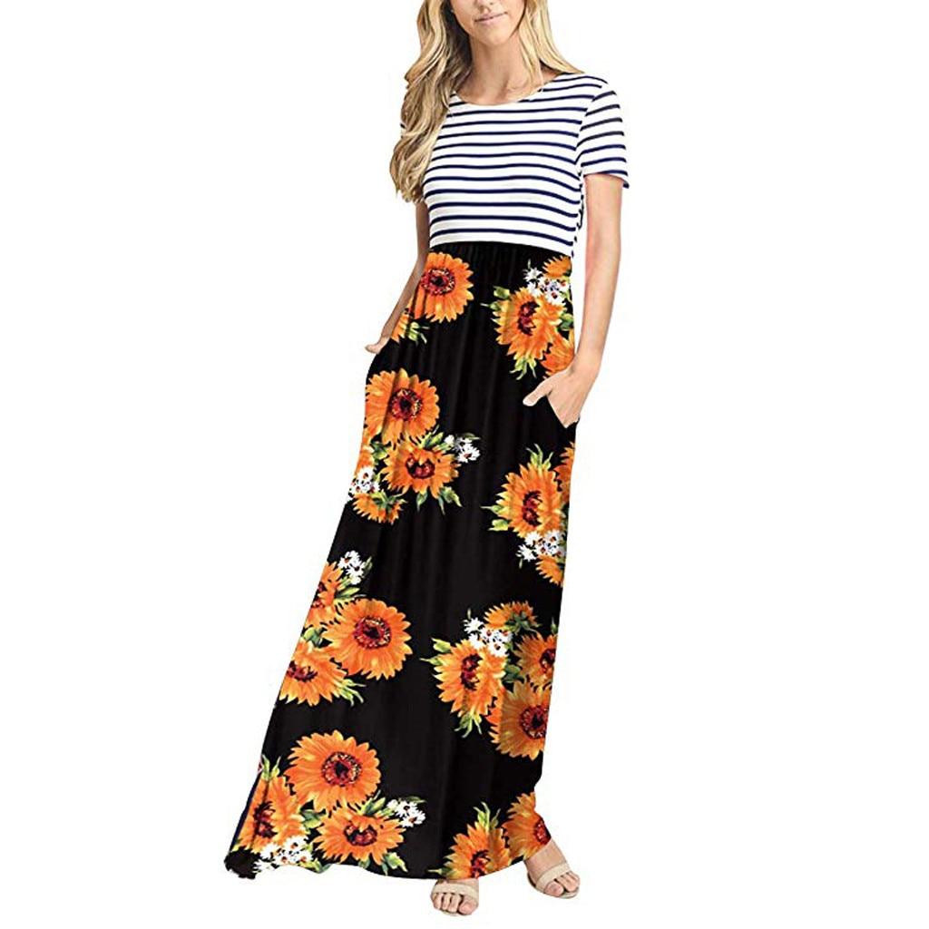 Sunflower Print Stripe Short Sleeve o-Neck Long Dress 2020 Summer Bohemia Outdoor Casual Beach Elegant Dress Daily Wear Sundress